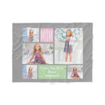 Custom Mothers Day Photo Collage Pink/Green/Gray Fleece Blanket
