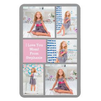 Custom Mothers Day Photo Collage Pink/Green/Gray Magnet