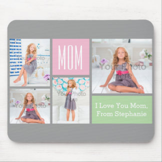 Custom Mothers Day Photo Collage Pink/Green/Gray Mouse Pad