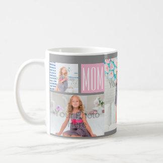 Custom Mothers Day Photo Collage Pink/Green/Gray Basic White Mug
