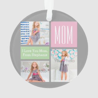 Custom Mothers Day Photo Collage Pink/Green/Gray Ornament