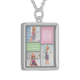 Custom Mothers Day Photo Collage Pink/Green/Gray Square Pendant Necklace