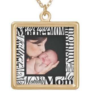 Custom Mother's Day Word Collage Photo Necklace