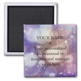 Custom Motivational Message Purple Glitter Magnet