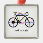 Custom Motivational Words for Bike Cycle Fans Square Metal Christmas Ornament