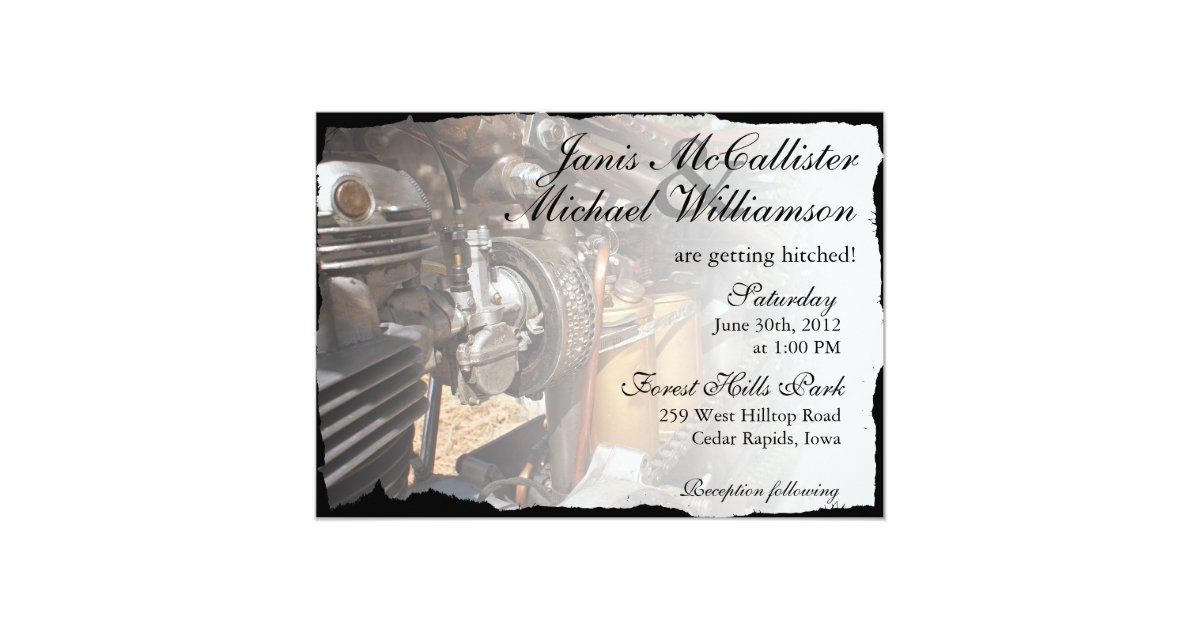 Biker Wedding Invitations: Custom Motorcycle Biker Wedding Invitation