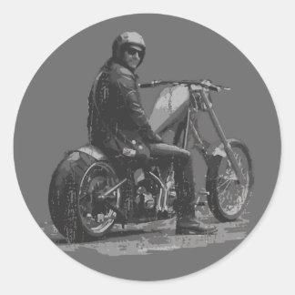 Custom Motorcycle Chopper Love Round Stickers