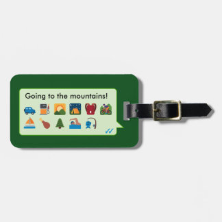 Custom mountain vacation emoticons phone message… luggage tag