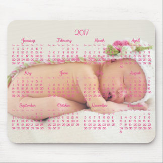 Custom Mouse Pad Pink Calendar 2017 Baby Photo