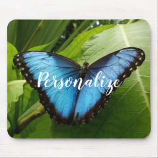 Custom mouse pad with blue Morpho butterfly photo