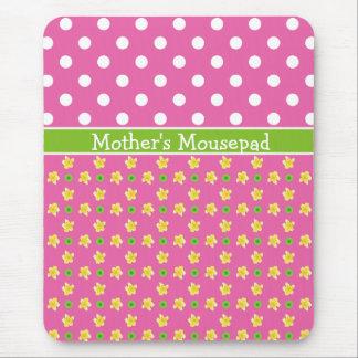 Custom Mousepad: Primroses and Polkas on Deep Pink Mouse Pad