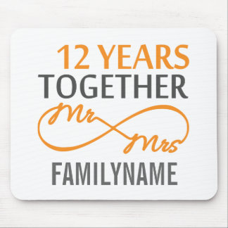 Custom Mr and Mrs 12th Anniversary Mouse Pad