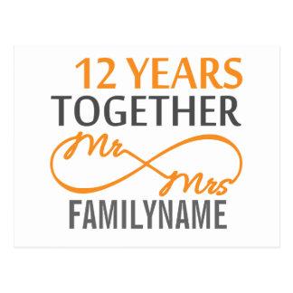 Custom Mr and Mrs 12th Anniversary Postcard