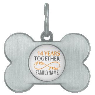 Custom Mr and Mrs 14th Anniversary Pet Name Tag