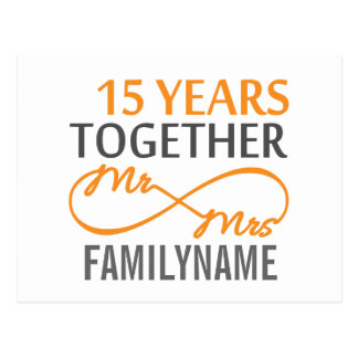 Custom Mr and Mrs 15th Anniversary Postcard
