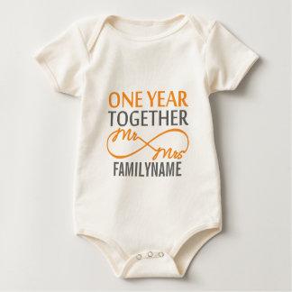 Custom Mr and Mrs 1st Anniversary Baby Bodysuit