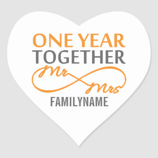 Custom Mr and Mrs 1st Anniversary Heart Sticker