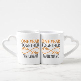 Custom Mr and Mrs 1st Anniversary Lovers' Mug Set