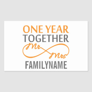 Custom Mr and Mrs 1st Anniversary Rectangular Sticker