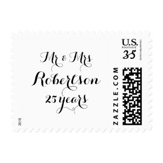 Custom Mr and Mrs 25th wedding anniversary stamps