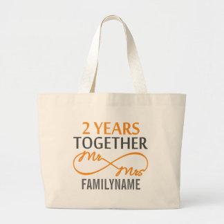 Custom Mr and Mrs 2nd Anniversary Jumbo Tote Bag
