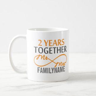 Custom Mr and Mrs 2nd Anniversary Coffee Mugs