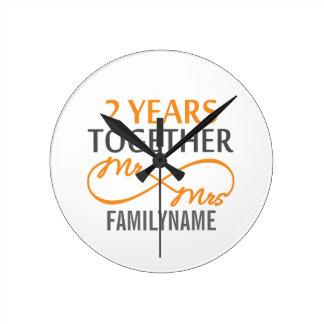 Custom Mr and Mrs 2nd Anniversary Round Clock