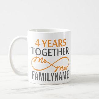 Custom Mr and Mrs 4th Anniversary Coffee Mug