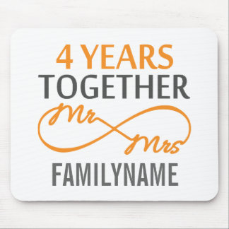 Custom Mr and Mrs 4th Anniversary Mouse Pad