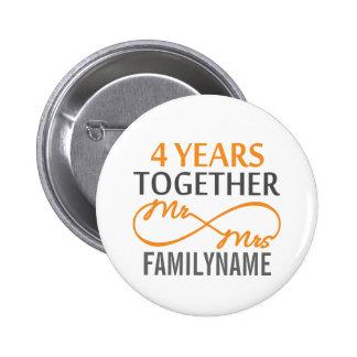 Custom Mr and Mrs 4th Anniversary Pinback Button