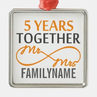 Custom Mr and Mrs 5th Anniversary Metal Ornament