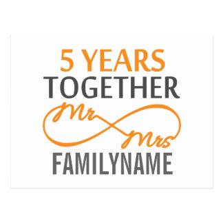 Custom Mr and Mrs 5th Anniversary Postcard