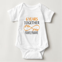 Custom Mr and Mrs 6th Anniversary Baby Bodysuit