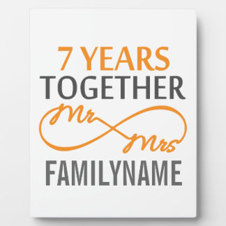 Custom Mr and Mrs 7th Anniversary Plaque