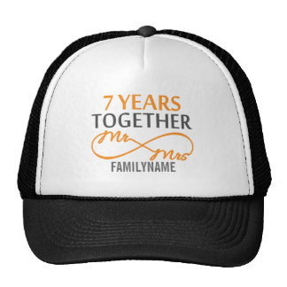 Custom Mr and Mrs 7th Anniversary Trucker Hat