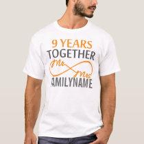 Custom Mr and Mrs 9th Anniversary T-Shirt