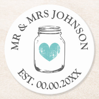 Custom mr and mrs mason jar wedding party coasters