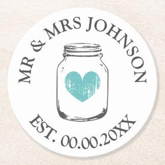 Custom mr and mrs mason jar wedding party coasters