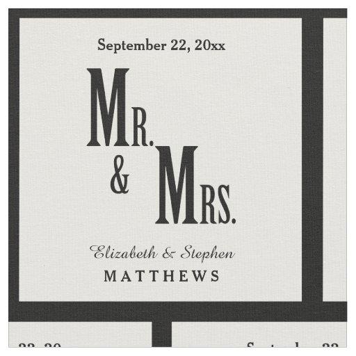 custom mr  and mrs  wedding template fabric