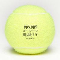 Custom mr and mrs wedding tennis ball gift set