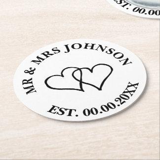 Custom mr mrs double heart wedding party coasters