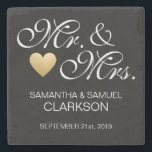 """Custom MR. &amp; MRS. White Black Heart Wedding Favors Stone Coaster<br><div class=""""desc"""">Thank your guests with these gorgeous and elegant wedding coasters favors. MR. &amp; MRS. with bride and groom names with last name and wedding date. Black and White with a faux gold foil heart to give that extra touch. Fits any wedding theme or color scheme. All text can be edited...</div>"""
