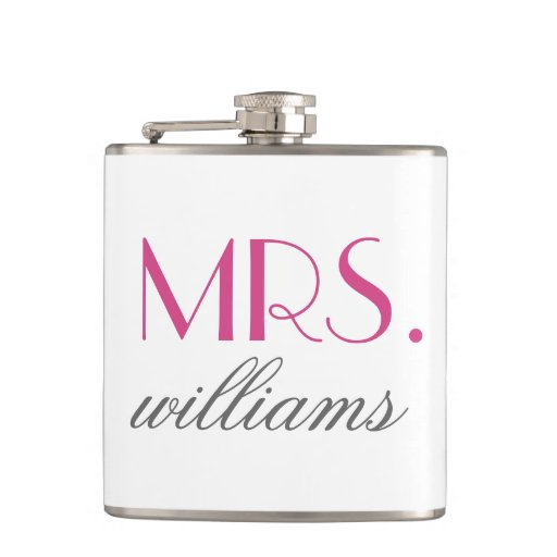 Custom Mrs. Wedding Flask Bride-to-Be Gifts