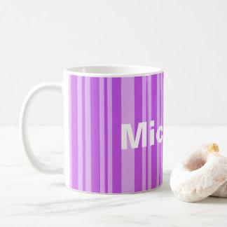 Custom Mug with name, purple stripes