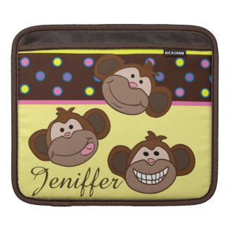 Custom multi color polka dots with smiling monkeys iPad sleeve