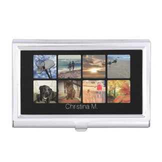 Custom Multi Photo Mosaic Picture Collage Business Card Holder
