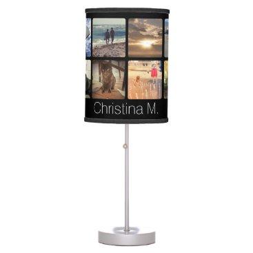 Custom Multi Photo Mosaic Picture Collage Desk Lamp