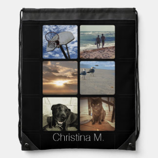Custom Multi Photo Mosaic Picture Collage Drawstring Backpack