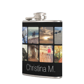 Custom Multi Photo Mosaic Picture Collage Hip Flask