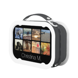 Custom Multi Photo Mosaic Picture Collage Lunch Box